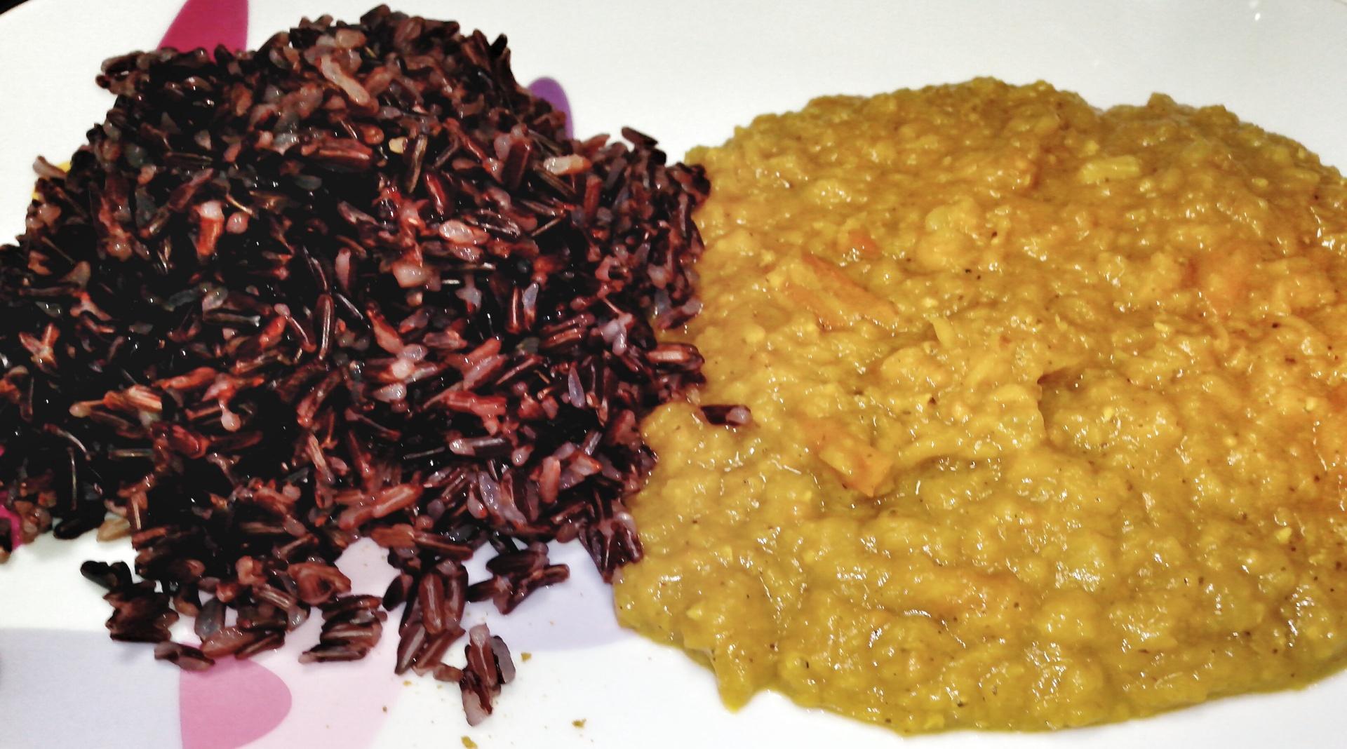 riso rosso e lenticchie gialle